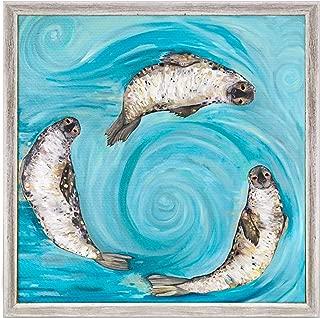 GreenBox Art + Culture Ice Seals by Eli Halpin 6 x 6 Mini Framed Canvas, Rustic White
