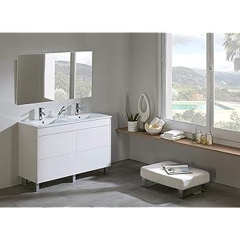 Platos de ducha y mamparas Conjunto Naima_PdM_ Mueble + encimera cerámica + Espejo Liso (Blanco Brillo, 120cm_2 Senos): Amazon.es: Hogar