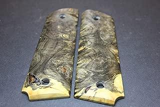 1911 Gun Grips Cast Live edge BUCKEYE BURL Gov Full Size Factory Style Custom gun stock pistol handles scales