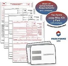 2018 Laser Tax Forms - 1099-MISC Income 3-Part Set & Envelope Kit for 25 Individuals - Park Forms
