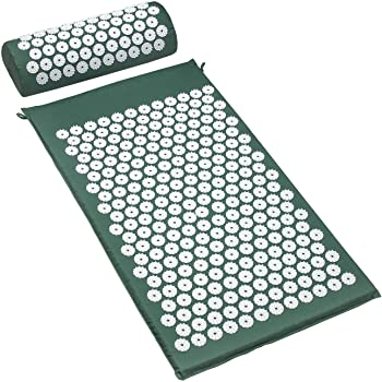 Sivan Back and Neck Pain Relief Acupressure Mat and Pillow Set, Chronic Back Pain Treatment - Relieves Your Stress of Lower Upper Back and Sciatic Pain - Green
