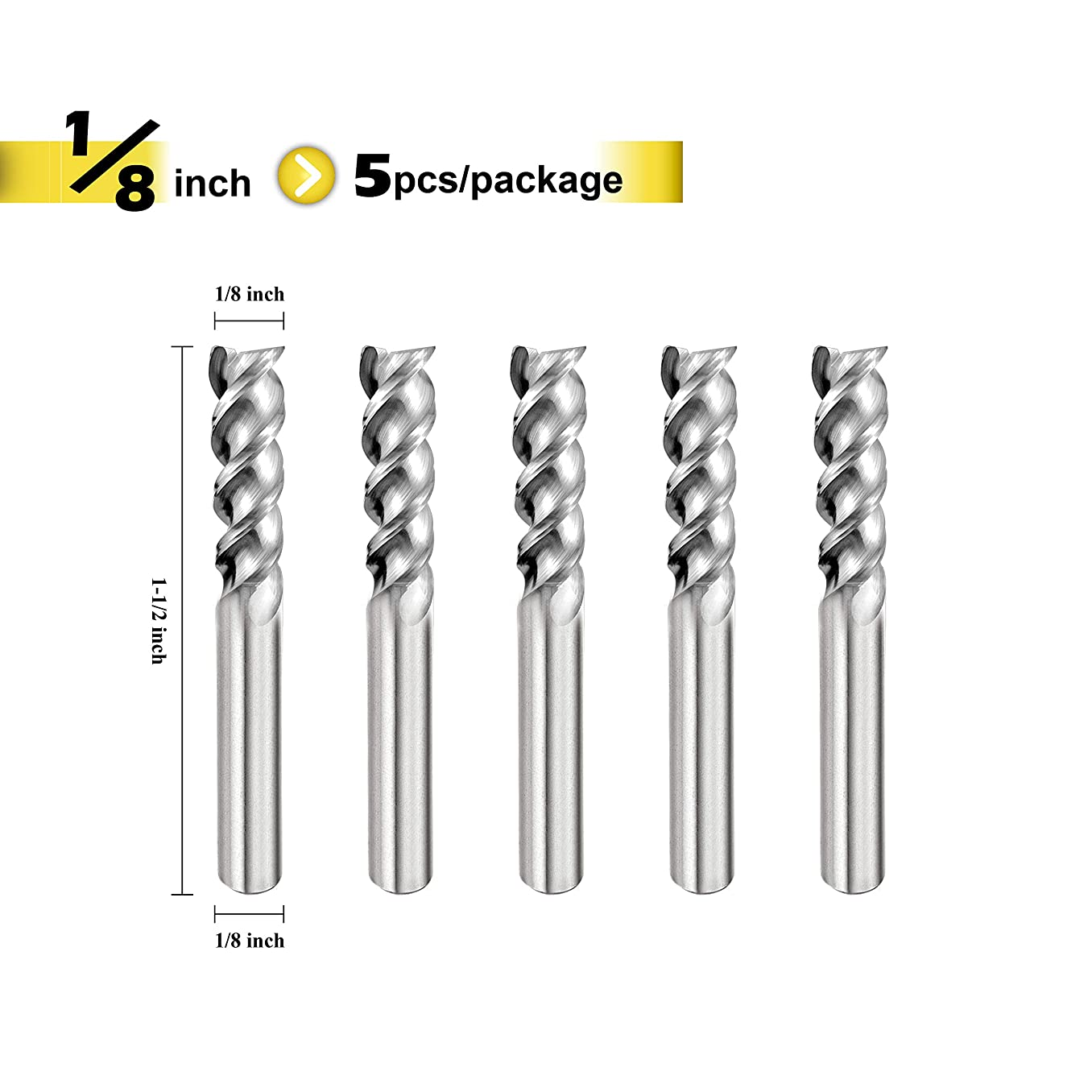 SPEED TIGER IAUE Carbide Square End Mill for Aluminum Applications - High Feed U-Type Design - for Roughing and Finishing - 3 Flute - IAUE1/8