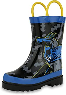 DC Comics Kids Boys' Batman Character Printed Waterproof Easy-On Rubber Rain Boots (Toddler/Little Kids)