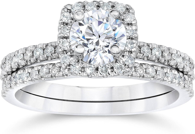 5/8 Carat Cushion Halo Diamond Engagement Wedding Ring Set White Gold