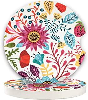 Car Coaster Pack of 2,Flowers Stone Car Coaster Absorbent Car Cup Holder for Drinks (Sunflower)