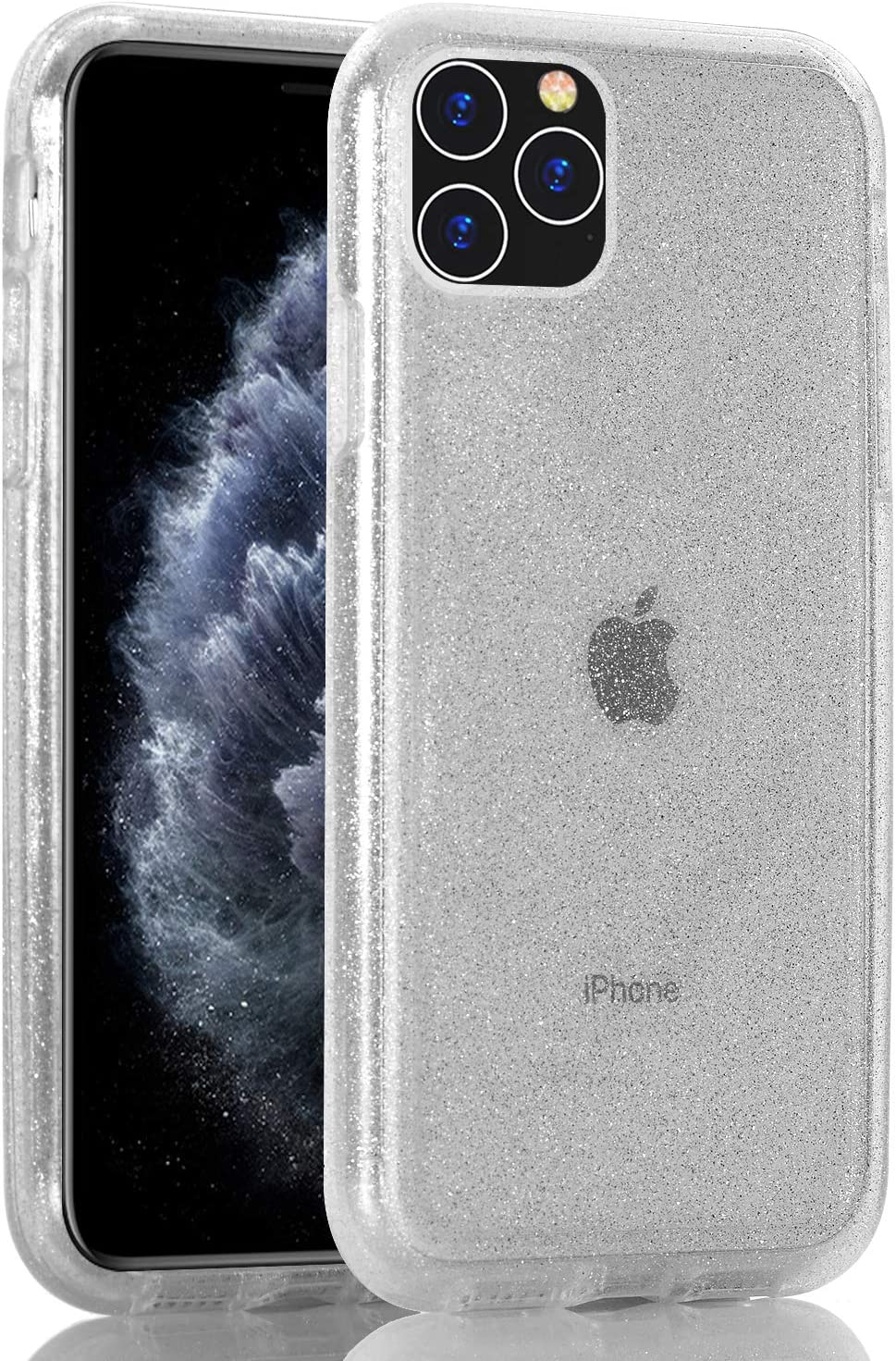 BAISRKE Clear Glitter Case for iPhone 11 Pro Max, Hybrid Heavy Duty Protection Case Hard Plastic & Soft TPU Sturdy Shockproof Armor High Impact Resistant Cover for iPhone 11 Pro Max [Clear]