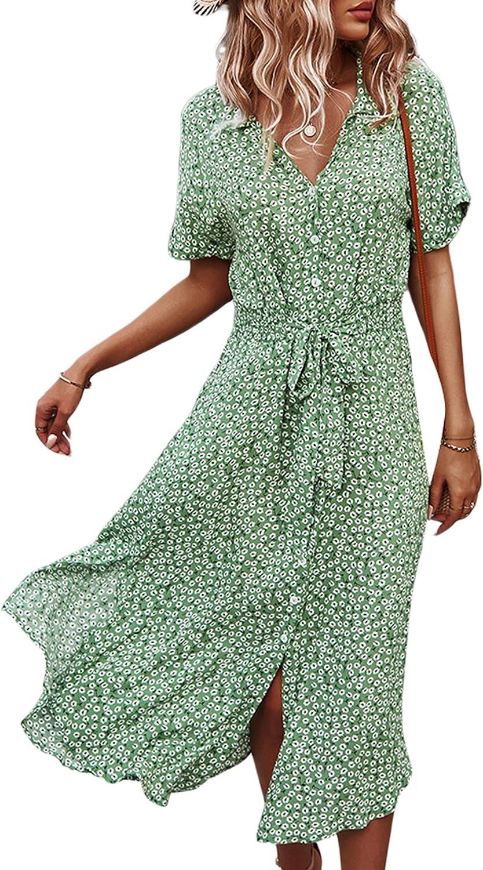 Women Summer Boho Short Sleeve Floral Maxi Dress V Neck Ruffle Bohemian Swing Beach Dresses Sundress