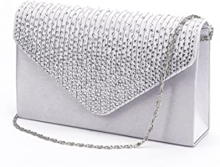 Large Ladies Evening Satin Bridal Diamante Clutch Bag Prom Envelope Handbag