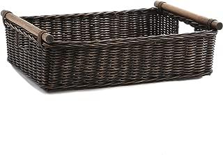 The Basket Lady Low Pole Handle Wicker Storage Basket, Large, 19.5 in L x 12.5 in W x 6 in H, Antique Walnut Brown