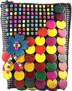 GulfDealz Women's Coconut Shell Beaded Sling Flowers, Crossbody Bag - Multi-color
