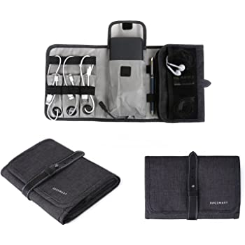 BAGSMART Compact Travel Cable Organizer Portable Electronics Accessories Bag for Various USB, Cables, Earbuds, Power Bank, Black