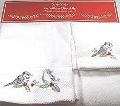 3 Piece Embellished Towel Set- Bath, Hand and Finger Tip Love Birds