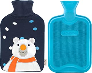 Premium Classic Rubber Hot Water Bottle and Cute Animal Embroidery Knit Cover (White Bear/Navy Blue)
