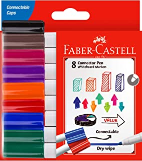 Faber-Castell Connector Whiteboard Marker Assorted 8 Pack, (67-1592082)