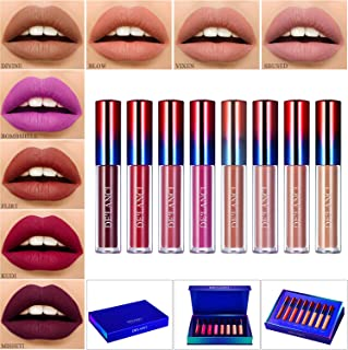 Liquid Lipstick Matte Makeup Set,Afflano Lipgloss Long Lasting Durable Non-Stick Cup Waterproof Lipstick,Dark Red Nude 8 Colors Birthday Gift Kit,Velvet Smooth Kiss Stay All Day Lip Gloss for Women
