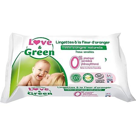 Love & Green Lingettes Hypoallergéniques à la Fleur d'Oranger Bio - Biodégradables et Compostables - Paquet de 64 Lingettes