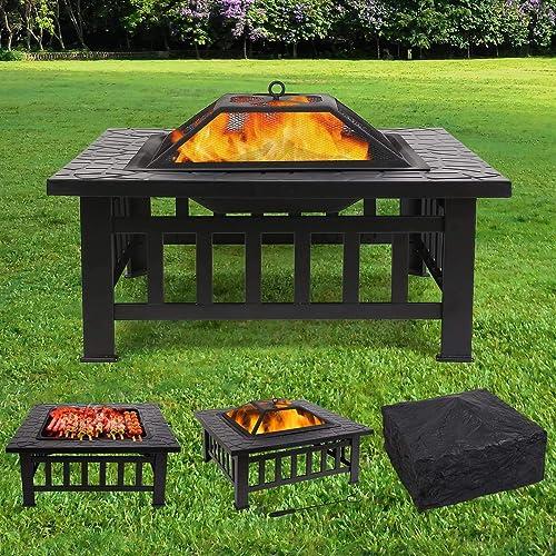 Femor Braséro avec Grille 81x 81x 45cm, Multifonction Fire Pit pour Chauffage/BBQ, Jardin terrasse Vasque braséro ...