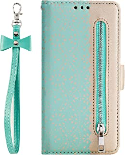 NEXCURIO Wallet Case for Huawei Y7 2019/Y7 Pro 2019 with Card Holder Side Pocket Kickstand, Shockproof Leather Flip Cover Case for Huawei Y7 Prime 2019 - NEHHA120306 Green