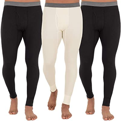Fruit Of The Loom Recycled Premium Waffle Thermal Underwear Long Johns Bottom (1, 2, 3, and 4 Packs)