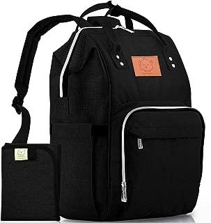 Diaper Bag Backpack – Large Waterproof Travel Baby Bags (Trendy Black)