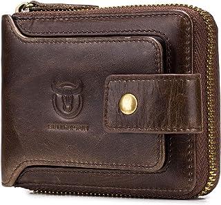 RFID Bifold Men's Cowhide Leather Zip Around Wallet Vintage Travel Multi Card Holder Purse