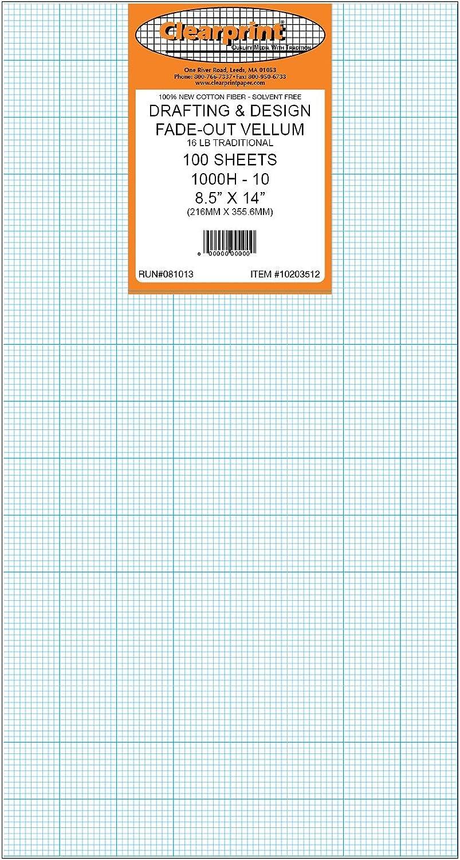Clearprint 1000H fade-out, 10 x 10, 4,5 kg, 100% Baumwolle, bedruckt, aus Pergamentpapier, mit 8–1 2 x 100 Blatt, 10203512 1 Stück B07CRCH9P6 | Speichern