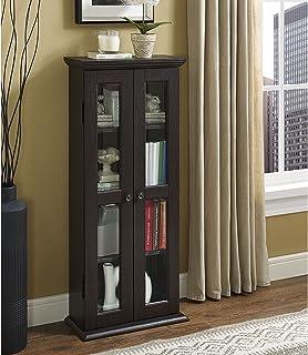 Walker Edison 4 Tier Shelf Living Room Storage Tall Bookshelf Cabinet Doors Home Office..