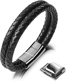 SERASAR   Premium Genuine Leather Bracelet for Men in Black   Magnetic Stainless Steel Clasp in Black, Silver and Gold   Exclusive Jewellery Box   Great Gift Idea