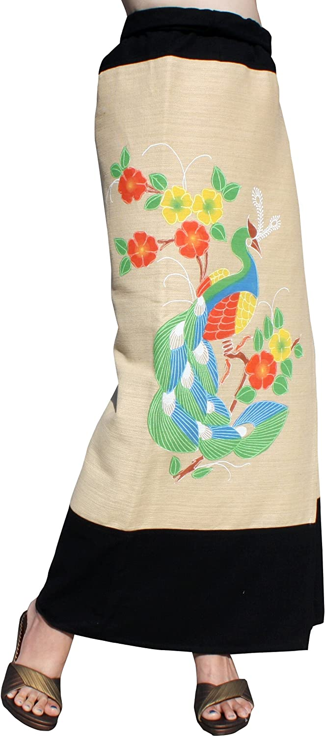 RaanPahMuang Thick Woven Hum Cotton Wrap Skirt with Painting Artwork