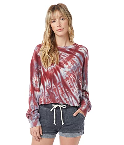 Alternative Washed Terry Boyfriend Pullover Sweatshirt (Deep Red Spiral Tie-Dye) Women