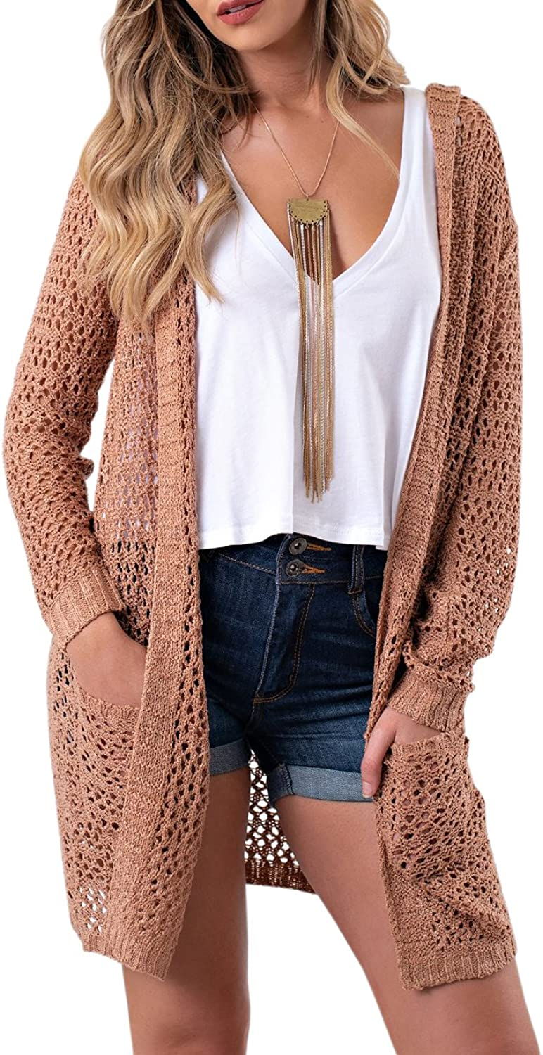 Saodimallsu Womens Boho Open Front Hoodie Cardigans Pointelle Long Sleeve Knitted Sweaters with Pockets
