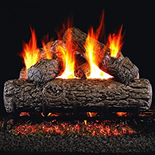 Peterson Real Fyre 24-inch Golden Oak Gas Log Set With Vented Natural Gas G4 Burner - Manual Safety Pilot