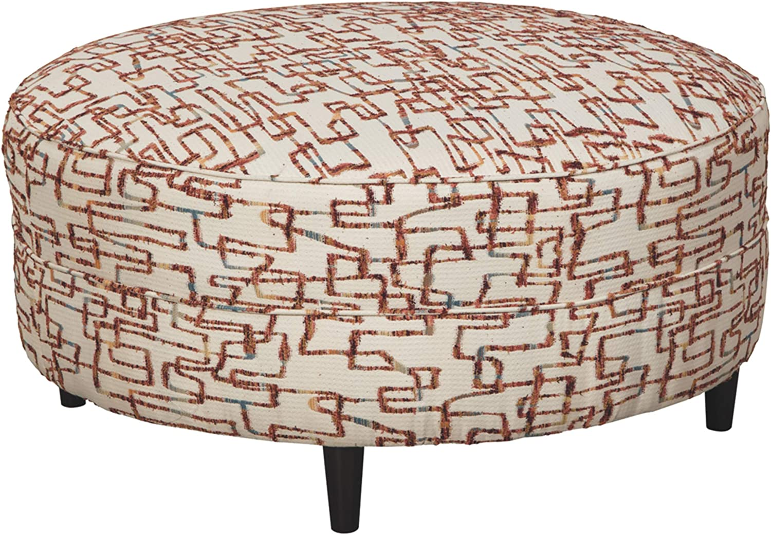 Signature Design by Ashley - Amici Unique Patterned Oversized Accent Ottoman, Beige/Red