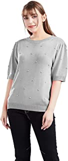 Gnpolo Women's Short Sleeve Dot Sweaters Crew Neck Knit Pullover Tops Solid Color Basic Blouse
