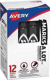 نشانگر دائمی در اندازه معمولی Avery Marks-A-Lot ، نوک تراشه ، بسته 12 مارک سیاه (07888)