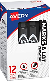 Avery Marks-A-Lot Permanent Markers, Regular Desk-Style Size, Chisel Tip, Water and Wear Resistant, 12 Black Markers (07888)