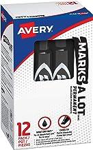 Marks-a-lot Avery Permanent Marker, Regular Chisel Tip, Black (07888), 12 markers