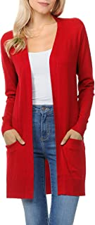 Womens Light Weight Open Front Long Cardigan with Pockets