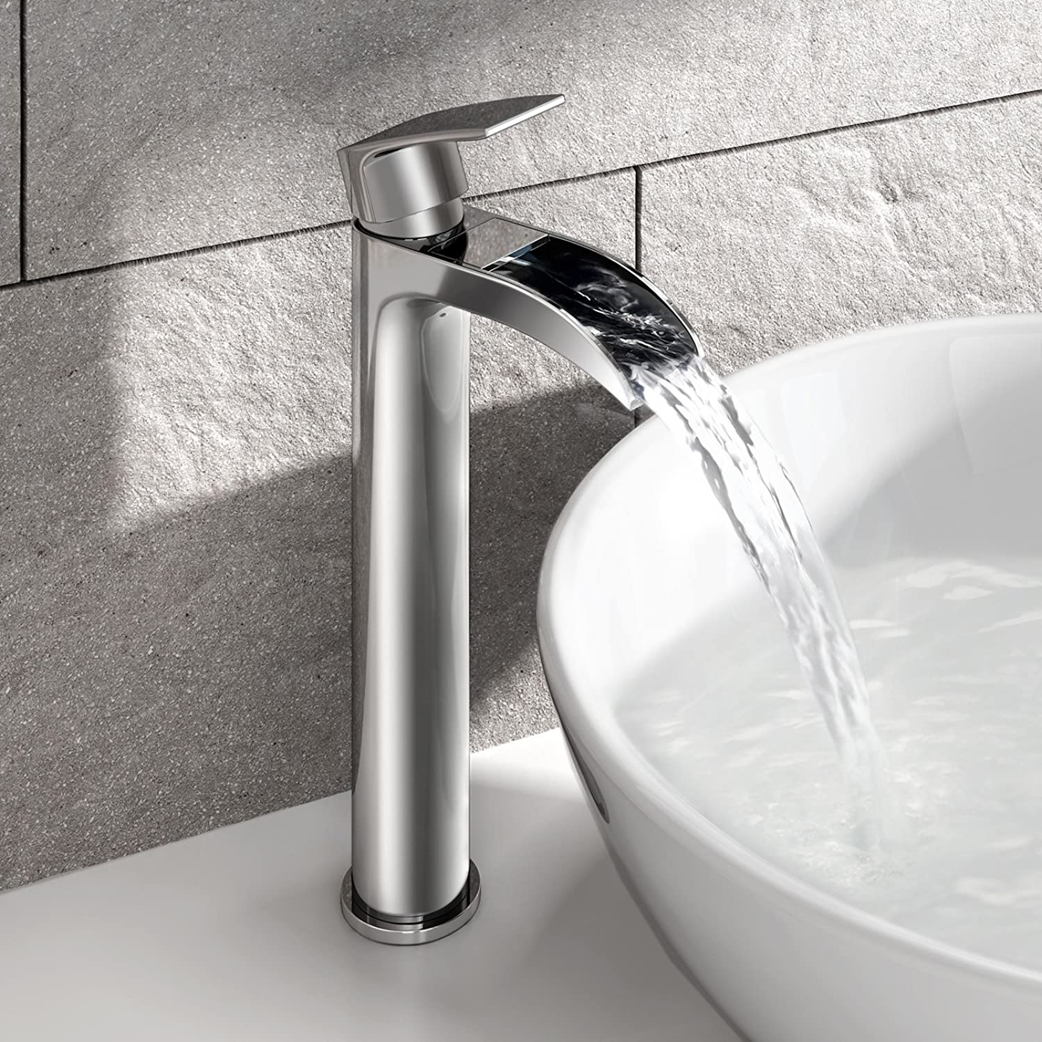 Tall Waterfall Counter Top Basin Mixer Tap Curved Bathroom Sink Faucet TB3154