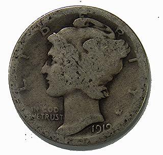 1919 S Silver Mercury Dime 10c Average Circulated