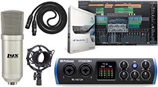 PreSonus Studio 24c 2x2 USB Type-C Audio/MIDI Interface and Studio One Artist Software kit with Condenser Microphone Shockmount, and XLR Cable