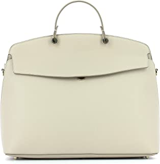Furla Women's My Piper Navy Tote Ivory Top Handle Large