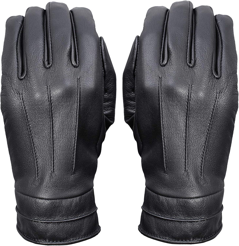 Goat Skin Womens Leather Driving Gloves Black Touchscreen Texting Full Finger Gloves