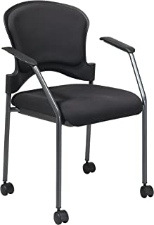 Office Star Padded Coal FreeFlex Mesh Seat Visitors Chair with Armrests, Upholstered Contour Back, Titanium Finish Frame, and Dual Wheel Carpet Casters, Black