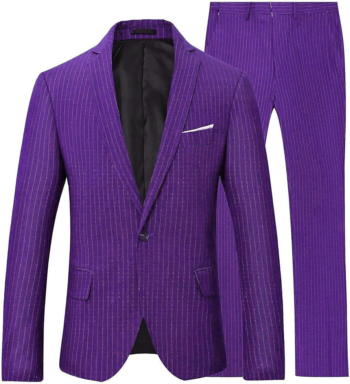 Men's Slim Fit 2 Pieces Stripe Suit Notch Lapel 1 Button Blazer Elastic Waist Pants