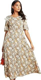 فستان متوسط الطول بطبعة زهور للنساء بتصميم مفتوح بشكل V واغلاق بسحاب