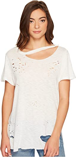 Culture Phit - Niamh Distressed Top with Neck Cut Out