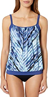 24th & Ocean Women`s Double Layer Banded Bottom Tankini Swimsuit Top
