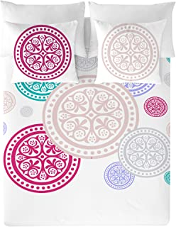 DEVOTA & LOMBA Medallones 61821 Algod&Oacuten, Blanco/Multicolor Cama 135 (220 x 220 cm + 45 x 155 cm)