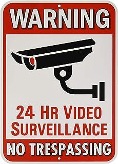 "Warning 24 Hour Video Surveillance No Trespassing Metal Sign - Heavy Duty Aluminum - Security Camera Warning, 1/8"" Thick D..."